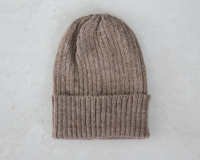 dc0dc818455 Cafe au lait Knitted Fisherman s Beanie Hat for Adults.