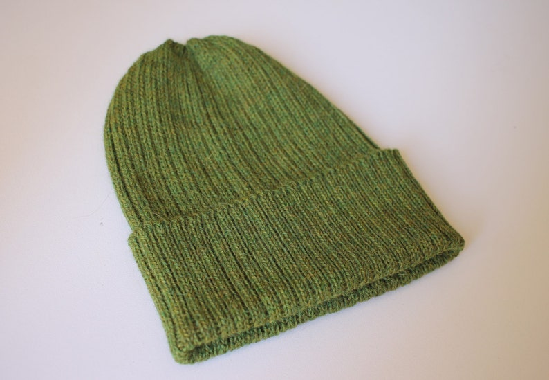 849f9a6e96f Dark Olive Green Beanie Hat for Adults. Unisex Design. 100%