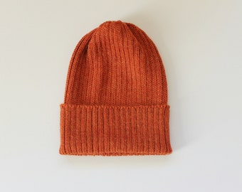 READY TO SHIP. Rust/ Burnt Orange Beanie Hat for Adults. 100% Alpaca - Handcrafted in Scotland. Knitted unisex 2 x 2 ribbed beanie.