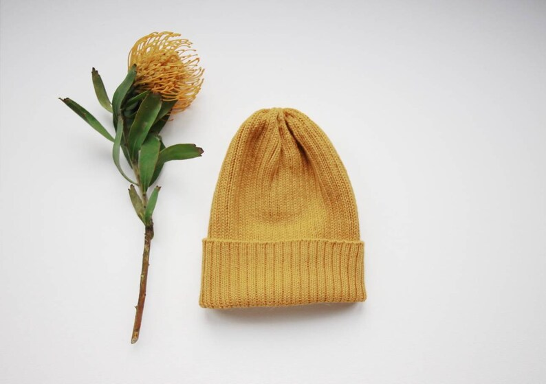 11114eff517 Mustard-Yellow Fisherman s Beanie Hat for Adults. 100%