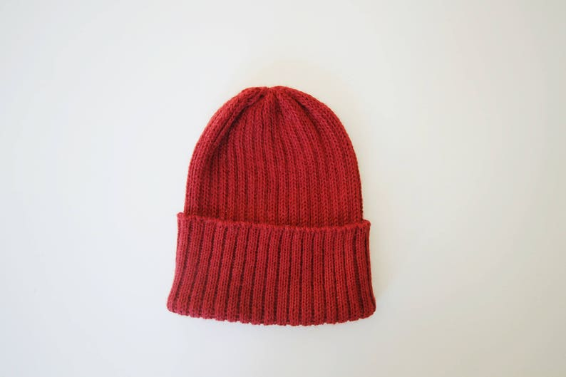 b514e00ee46 Tomato Red Fisherman s Beanie Hat for Adults. 100% Alpaca