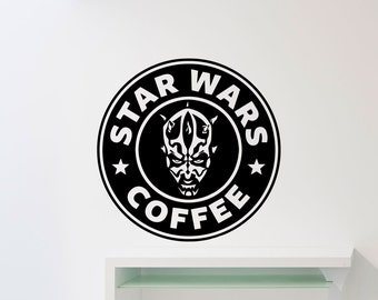 Star Wars Coffee Wall Decal Darth Maul Kitchen Vinyl Sticker Devil Sith Poster Dining Room Nursery Art Decor Ink Stencil Mural 42sw