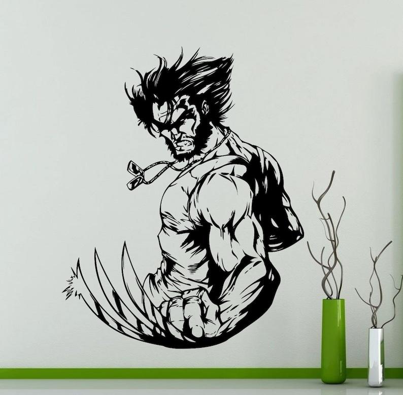 284su Wolverine Wall Decal Superhero DC Marvel Comics Vinyl Sticker Home Kids Boy Room Interior Decoration Waterproof High Quality Mural