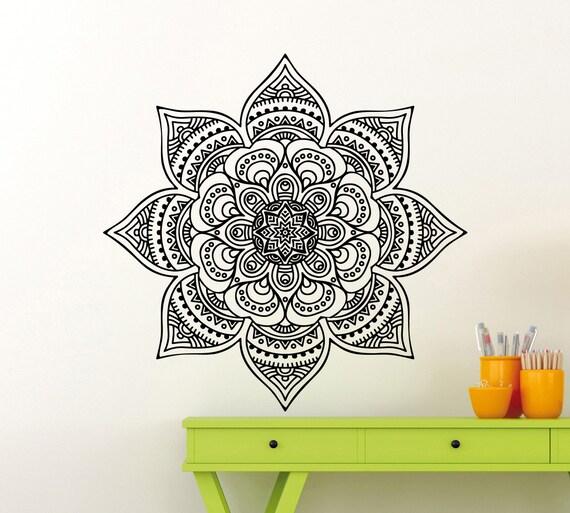 Mandala wall sticker mehndi ornament yoga namaste lotus flower etsy image 0 mightylinksfo