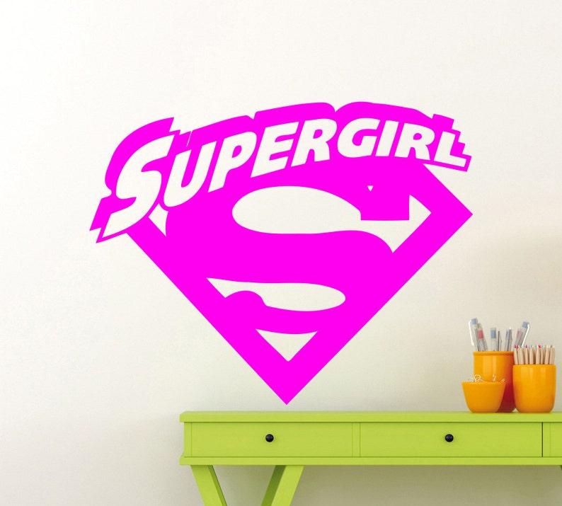 394xx Supergirl Logo Wall Sticker Superhero DC Marvel Comics Vinyl Decal Home Kids Girl Room Interior Decoration High Quality Mural
