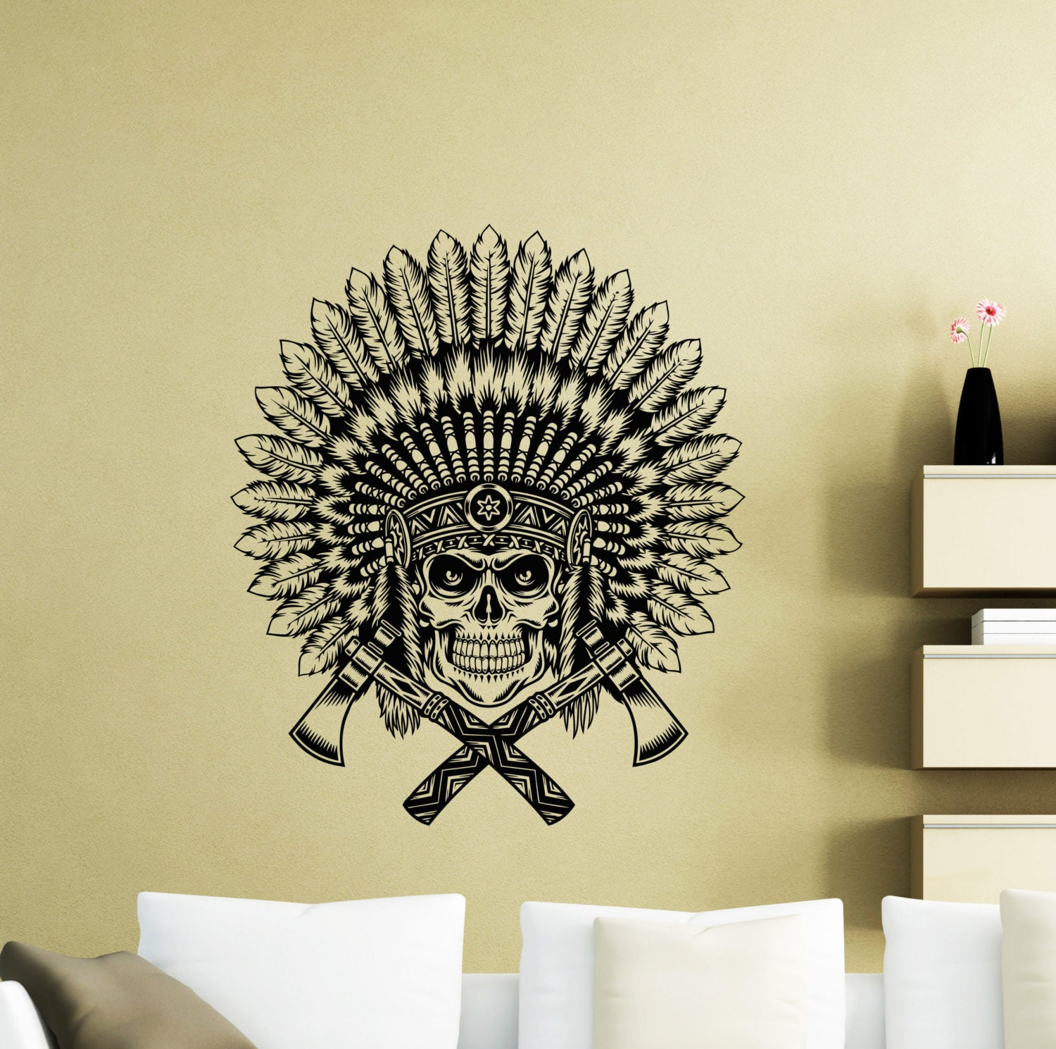 Indian Chief Wall Decal Native American Axe Feather Amulet   Etsy