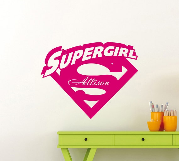 personalized supergirl wall sticker girl custom name vinyl | etsy