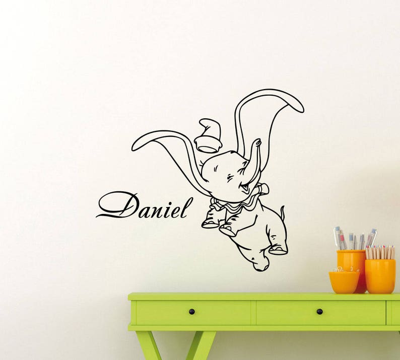 personalized name dumbo wall decal elephant custom disney etsy