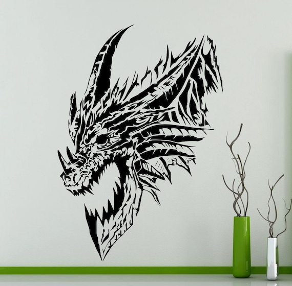 drachen kopf wand aufkleber monster tiere vinyl aufkleber auto etsy. Black Bedroom Furniture Sets. Home Design Ideas