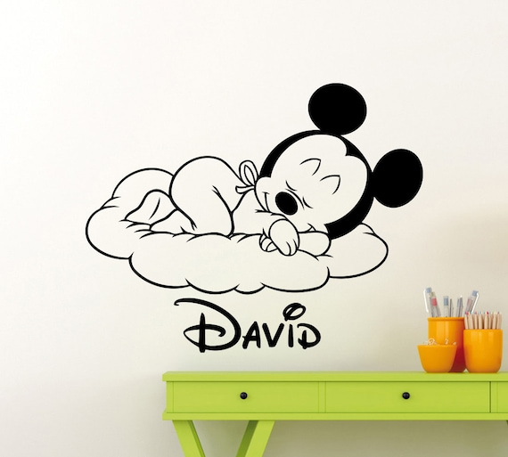 Benutzerdefinierten Namen Mickey Mouse Wandtattoo schlafen Cloud  personalisierte Cartoon Disney Vinyl Aufkleber Baby Kinder Kinderzimmer  Kunst Dekor ...