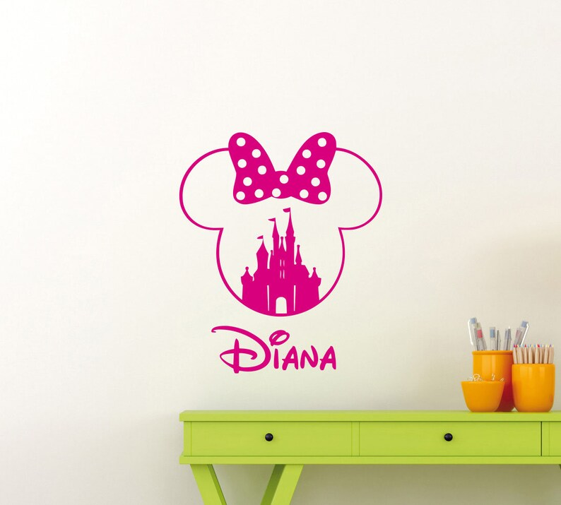 personalized name minnie mouse wall decal castle custom girl etsyimage 0