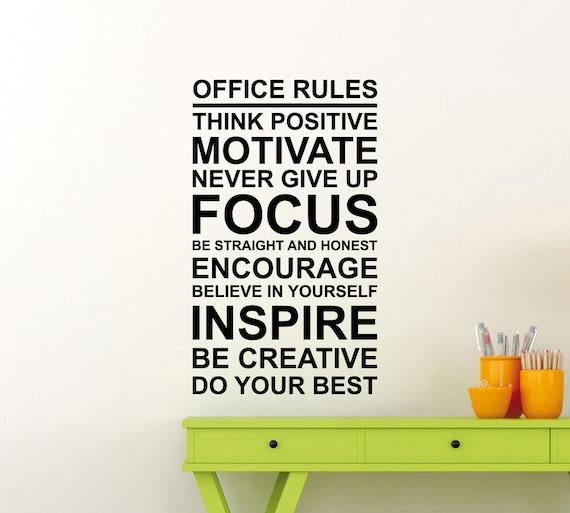 Buro Regeln Poster Wand Aufkleber Arbeit Motivation Zitat Etsy
