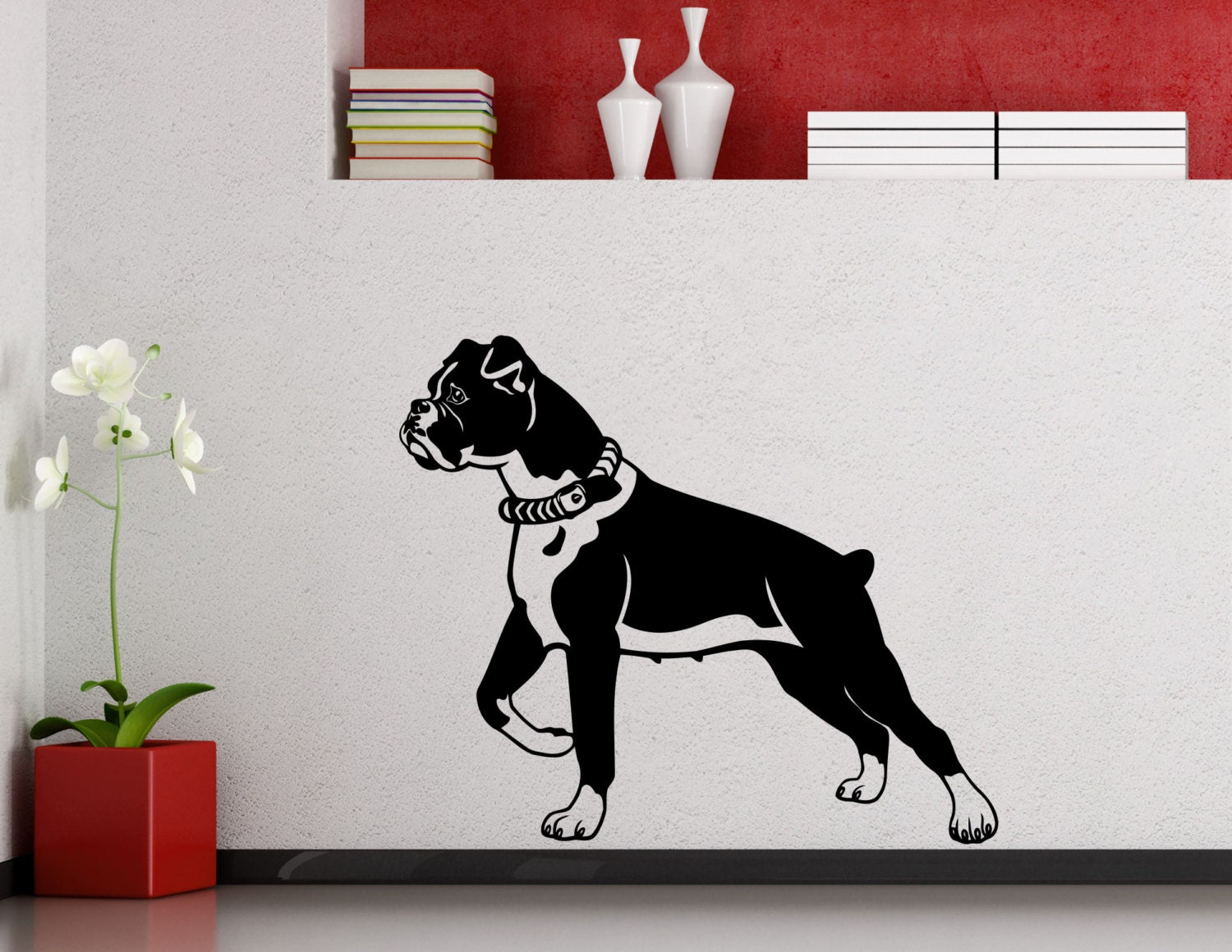 Boxer Dog Wall Decal Cute Dog Poster Stencil Animal Pets Vinyl | Etsy