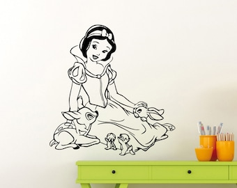 Snow White Wall Decal Disney Cartoon Seven Dwarfs Vinyl Sticker Bedroom Poster Nursery Girl Baby Kids Room Art Decor Removable Mural 21ct