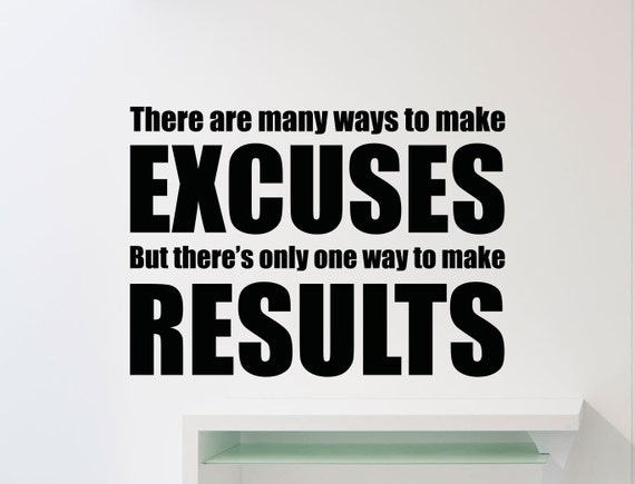Gym Wall Decal Excuses Results Fitness Motivation Quote Vinyl Sticker Crossfit Sport Poster Workout Inspirational Art Decor Mural 128gy