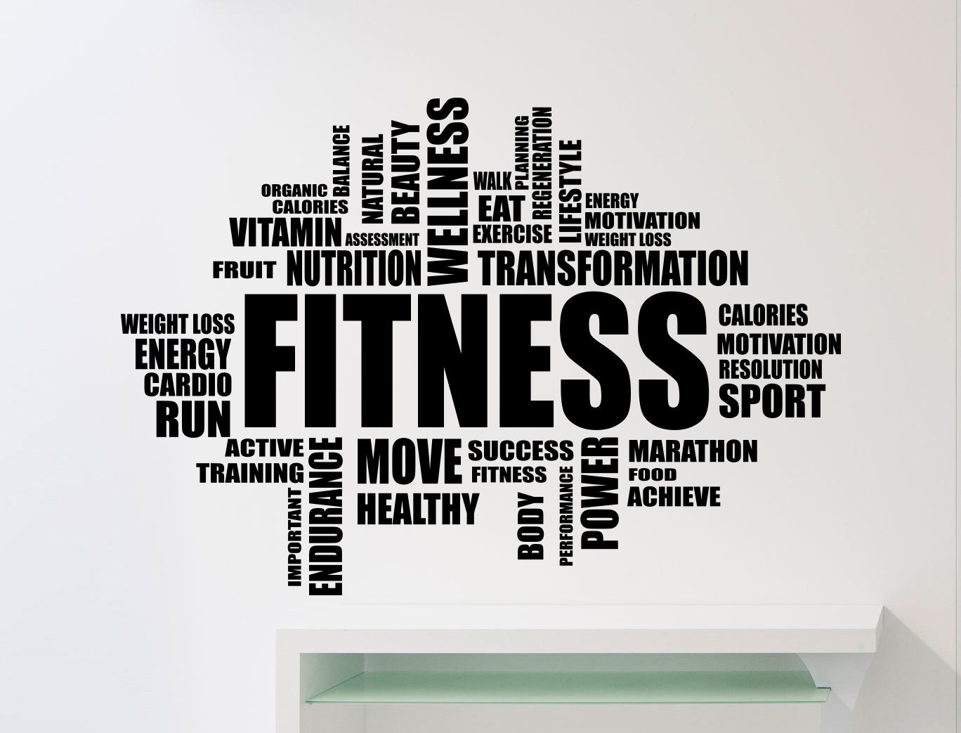 Fitness Motivation Word Cloud Wall Sticker Gym Quote