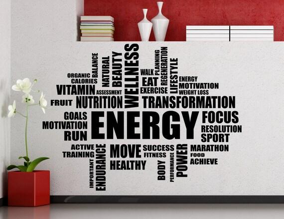 Gym Motivation Mots Nuage Mur Autocollant Gym Sports Formation Place Fitness Vinyle Autocollant Maison Chambre Décoration Intérieur Haute Qualité