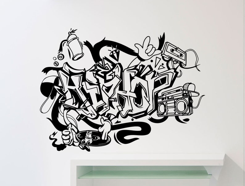 Hip Hop Wall Decal Rap Graffiti Music Vinyl Sticker Home Room Etsy