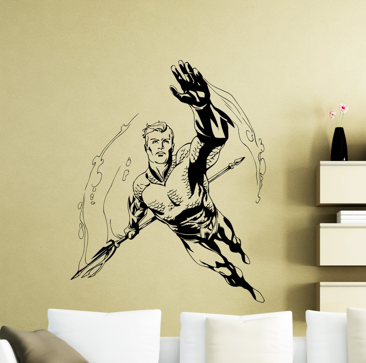 Aquaman Wall Decal DC Comics Superhero Bathroom Vinyl Sticker | Etsy