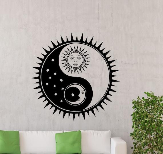 Sonne Mond Wand Aufkleber Sterne Yin Yang Schlafzimmer Vinyl Etsy