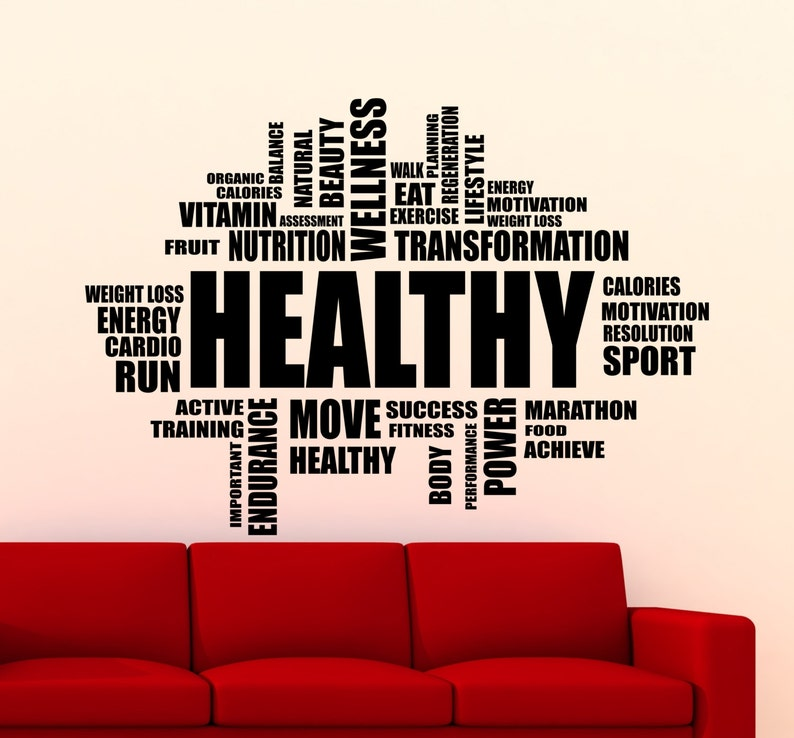 96gy Fitness Motivation Healthy Words Cloud Wall Sticker Gym Sports Training Place Vinyl Decal Home Room Interior Decor High Quality Mural