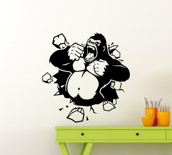 king kong wall decal movie vinyl sticker godzilla gorilla | etsy