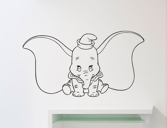 Dumbo elefante pared calcomanía Disney dibujos animados vinilo | Etsy