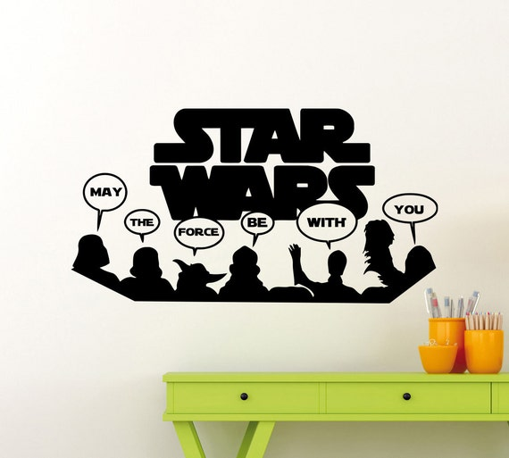 Star Wars Wall Decal May The Force Be With You Yoda Vader Etsy