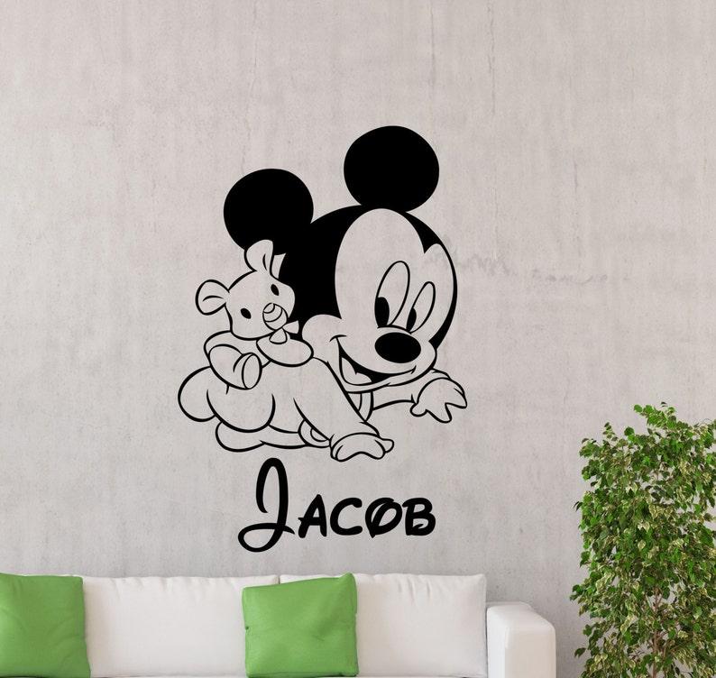 personalized mickey mouse wall sticker custom name boy disney etsy