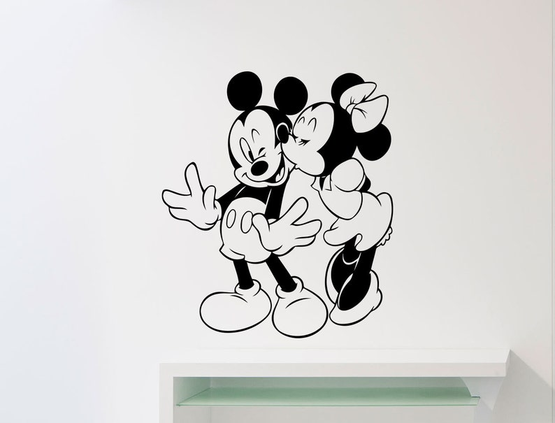 Mickey Mouse Minnie Mouse Baci Amore Wall Decal Cartoon Disney Etsy