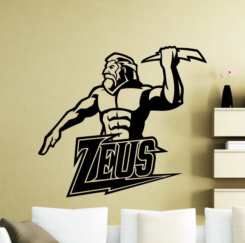 Zeus Wall Sticker Ancient Lightning Greek God Vinyl Decal Home | Etsy