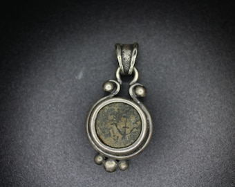 Ancient coin silver pendant Widow's Mite