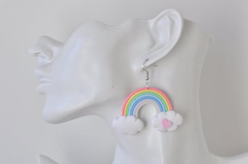 Polymer Clay Rainbow Drop Dangle Earrings