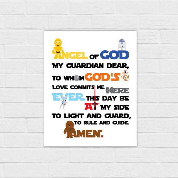 Star Wars Guardian Angel Prayer 8x10 and SQUARE {digital download} R2D2,  C3Po, Bb-8, Chewbacca, Death Star, Tie fighter