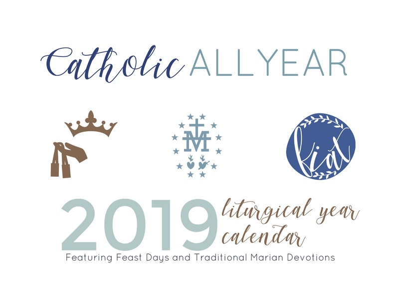 Catholic All Year 2019 Marian Liturgical Year Calendar *digital download*