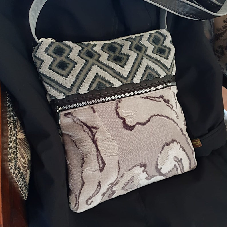 Furniture velvet shoulder bag with outer pocket  Handmade in image 0