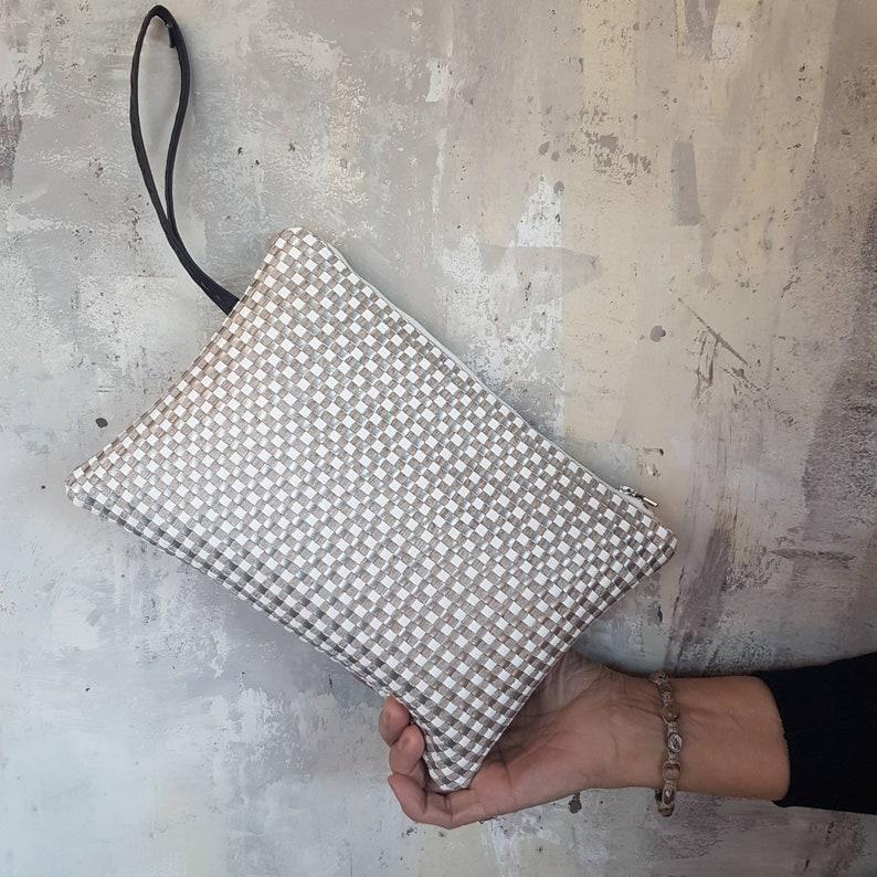 Pochette in woven fabric with cream-tortora-honey ecoleather  image 0