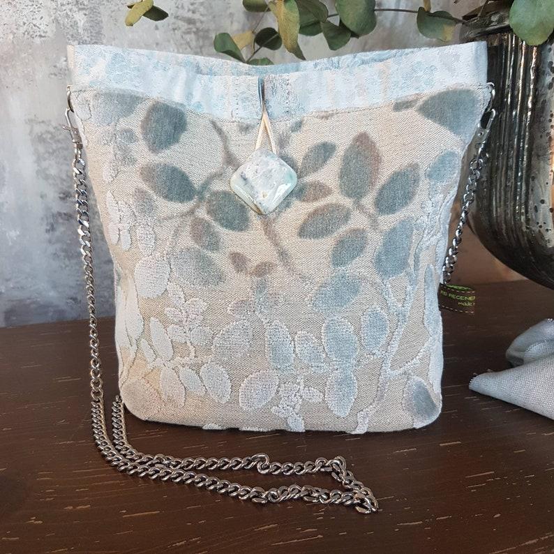 Powder blue velvet cheiled bucket bag  Handmade in Italy  image 0