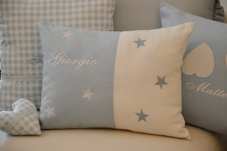 White & Blue Pillow Personalized Boy Pillow Name and Stars image 0