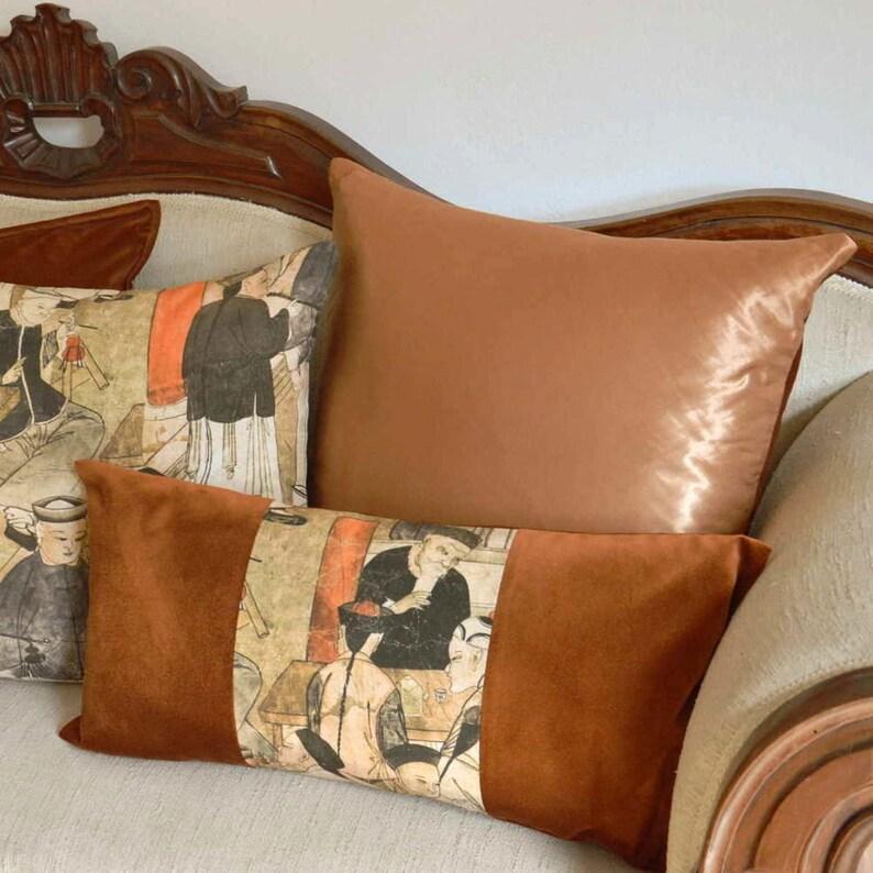Bright Orange Pillow Cover Double Sided Velvet & Taffeta image 0