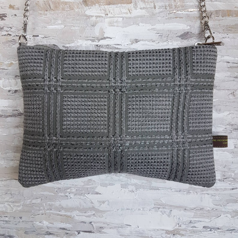 Chanel-style grey fabric shoulder bag  Handmade in Italy  RB image 0