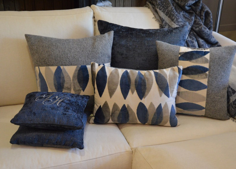 Decorative blue and grey pillow cover velvet Sanderson fabric image 0
