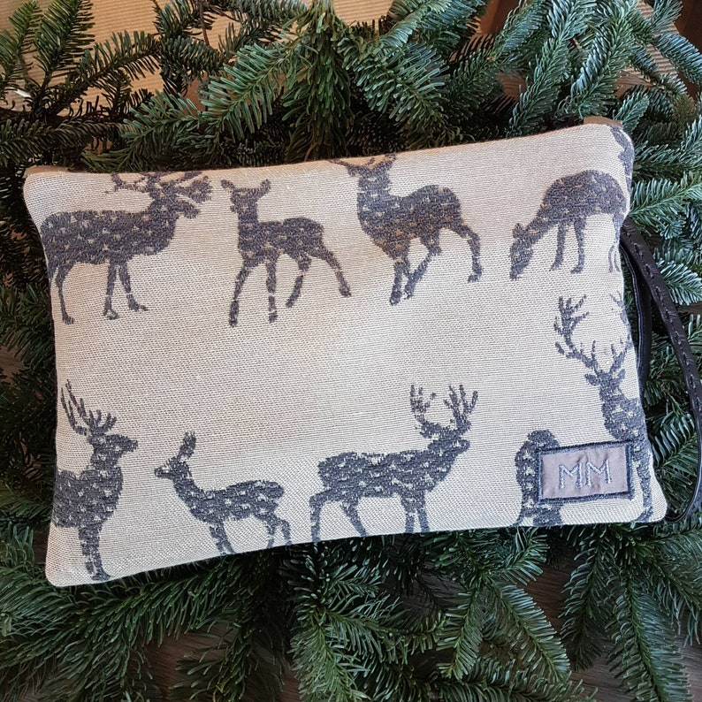 Fabric pochettes with embroidered deer Handmade in Italy  image 0