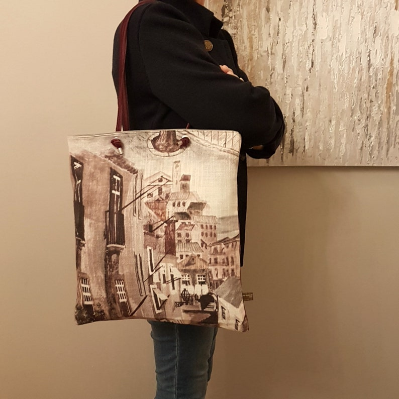 Citybag MYCOUNTRY Tote bag in printed linen dubbed velvet  image 0