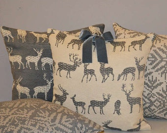 Pillow bow deer velvet retro decor snowflake cm 40 x 40