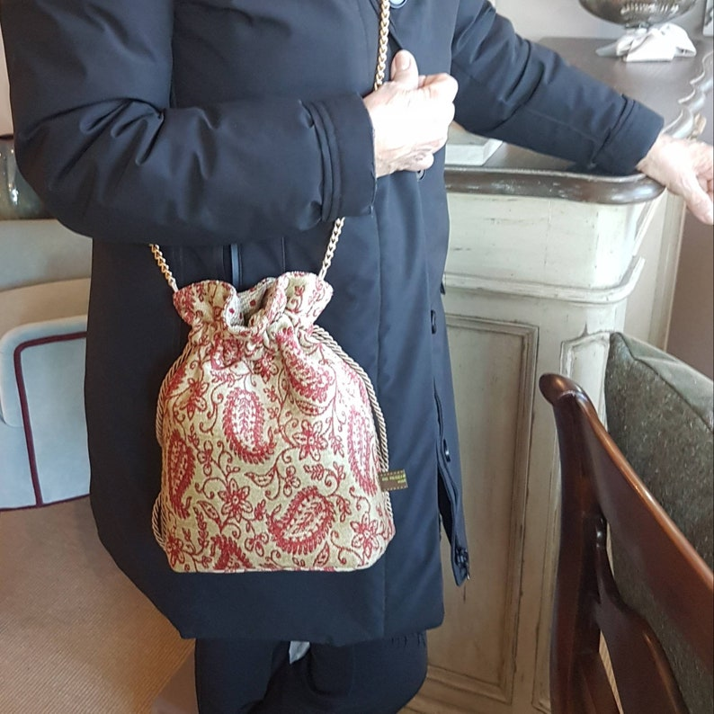 Red and beige paisley velvet bucket bag  Handmade in Italy image 0