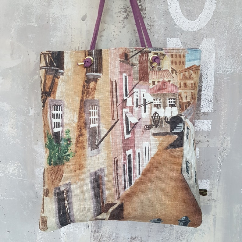 Citybag SIERRA Tote bag to printed linen dubbed and reversible image 0