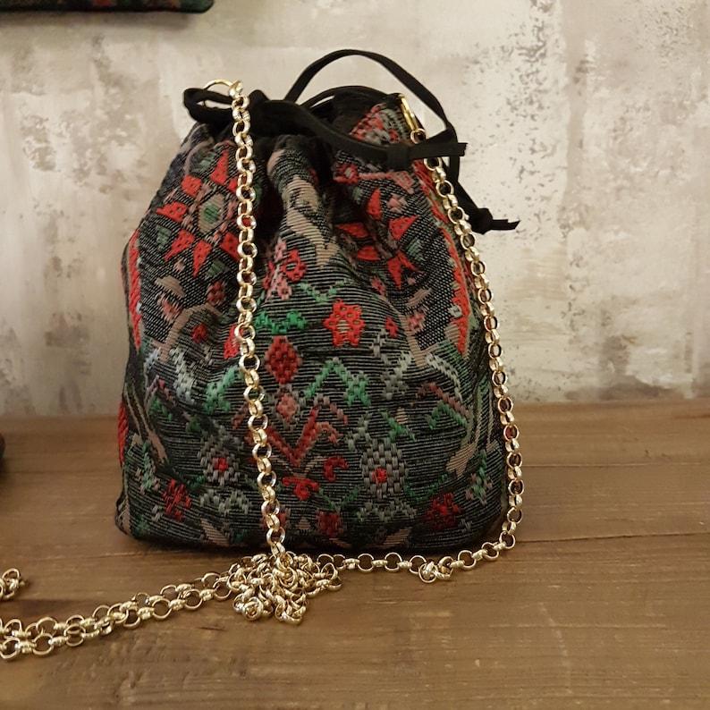 Ethnic design fabric bucket bag  Handmade in Italy  RAFFY image 0