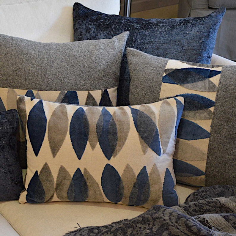 Grey Tyrolean cooked wool cushions and Sanderson velvet insert image 0