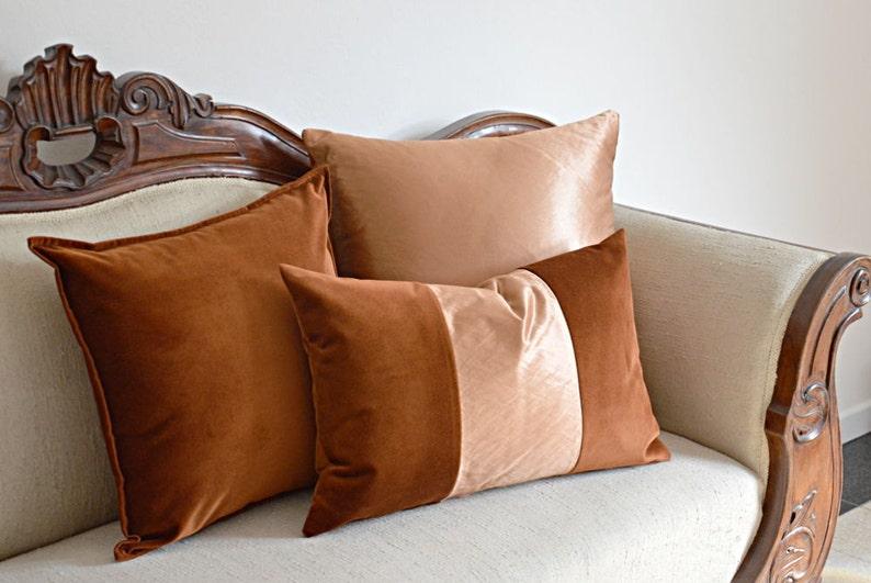 Orange Pillow Cover Double Sided Velvet Modern Pillow image 0